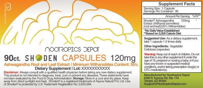 Shoden Ashwagandha Product Label