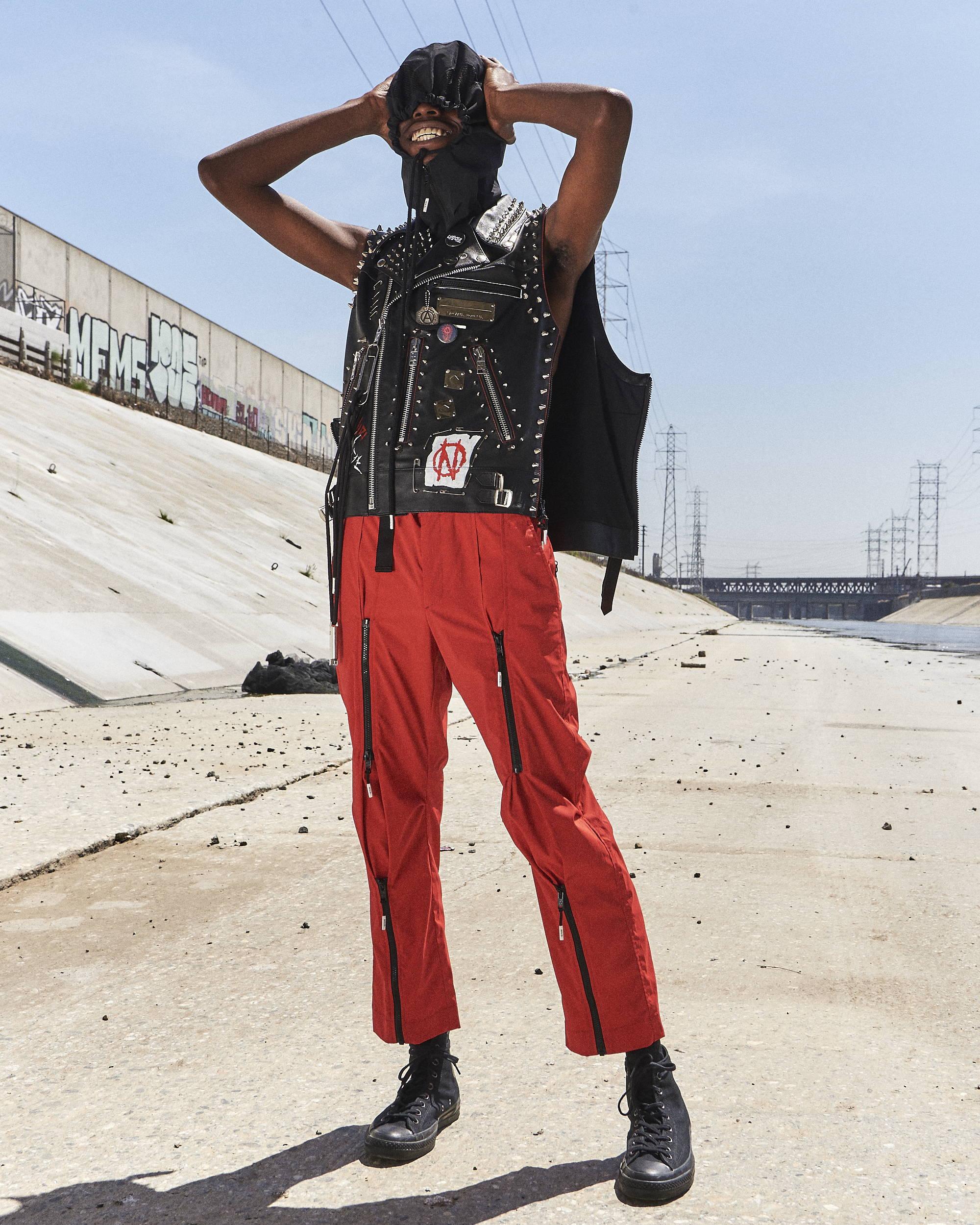 99%IS Studded Leather Vest Bondage Joggers Cap  SS18 HLNR Hlorenzo