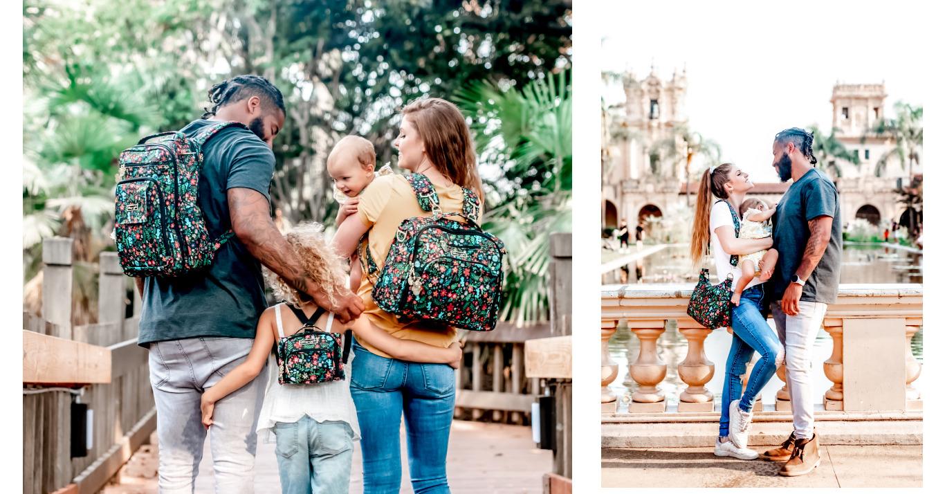 Family exploring while wearing Disney diaper bag and backpacks