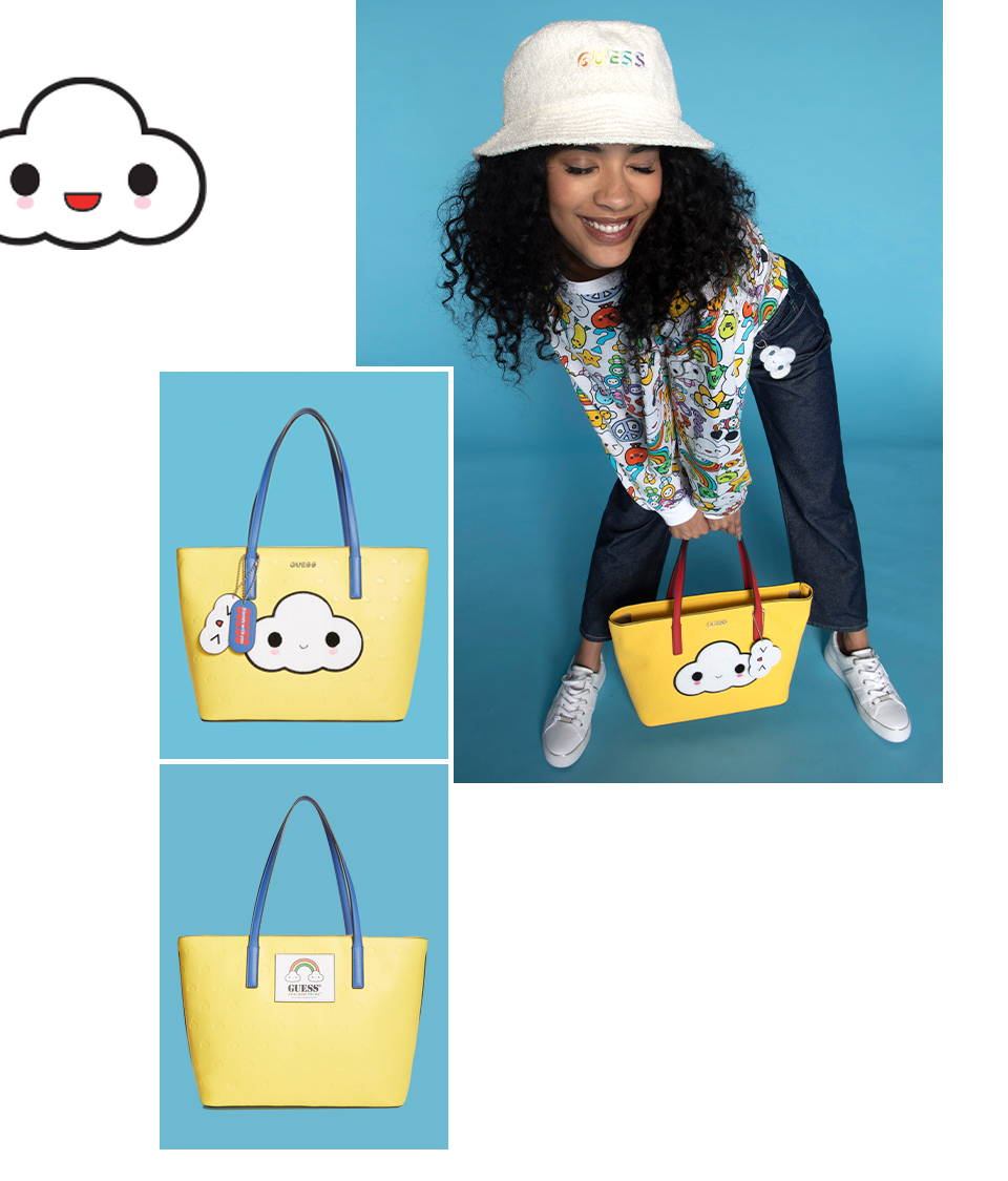 guess friends with you cloud tote in yellow