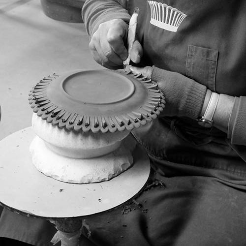 Hand engraving stage of making Bourg-Joly Malicorne faience