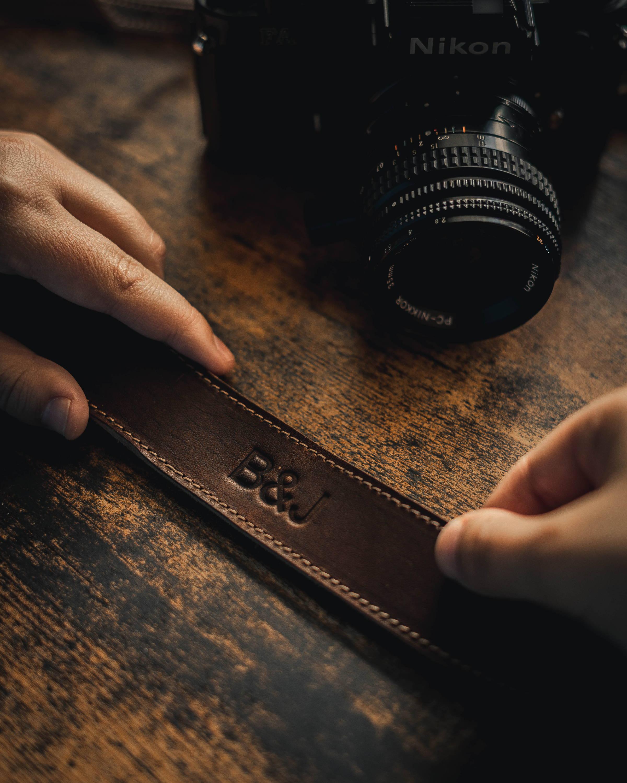 camera strap woth monogram