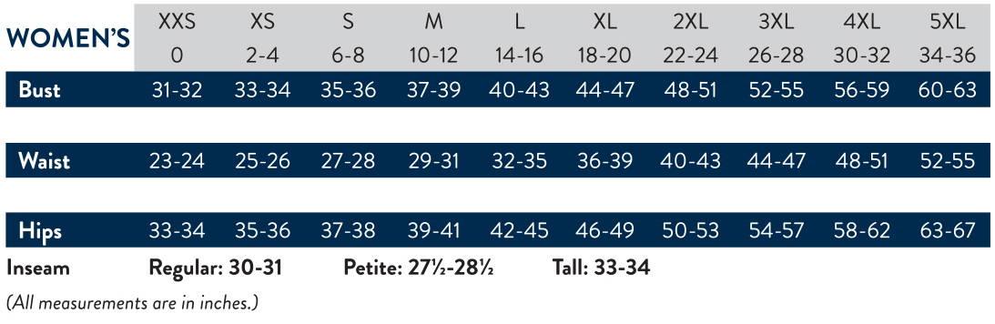 Cherokee Women's Size Charts