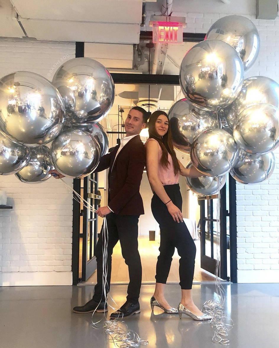 XL Silver Metallic Sphere Balloons