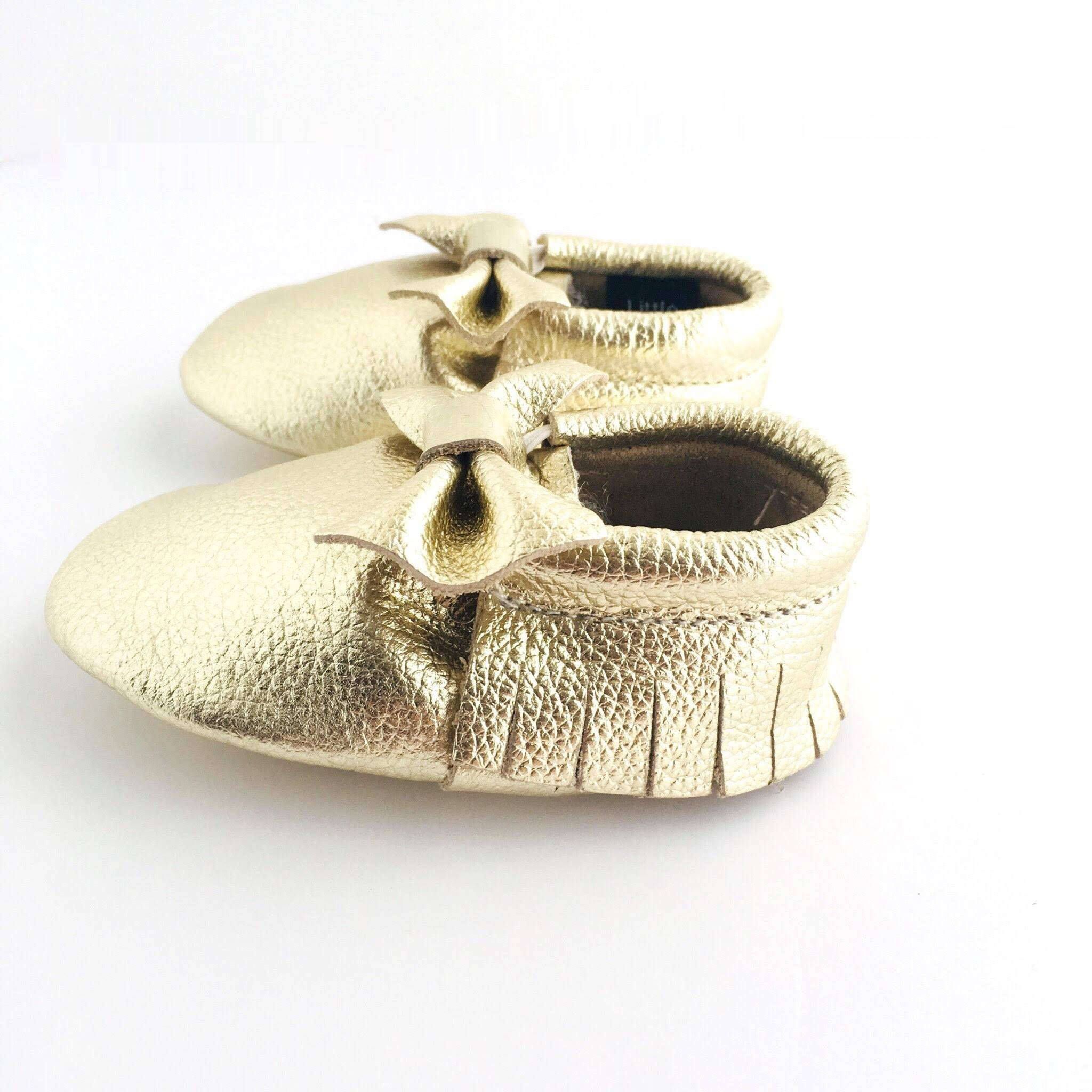 Bow Baby Soft Sole Shoe Metallic Gold Colour sview