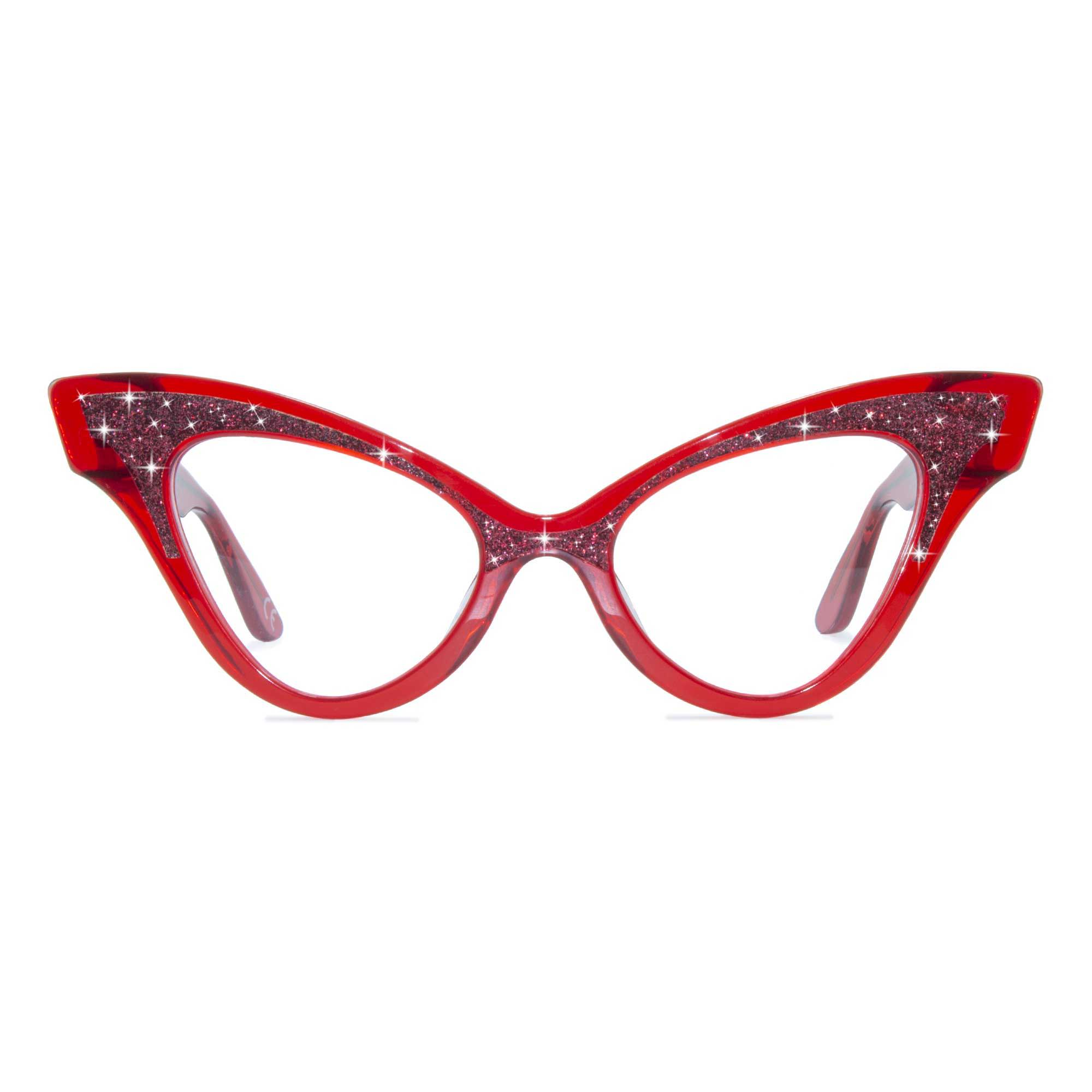 Joiuss glimmer clear red sparkle glasses