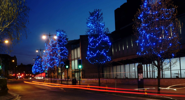 Blue lights illuminated on the  trees outside new Nightingale Hospital in Harrogate