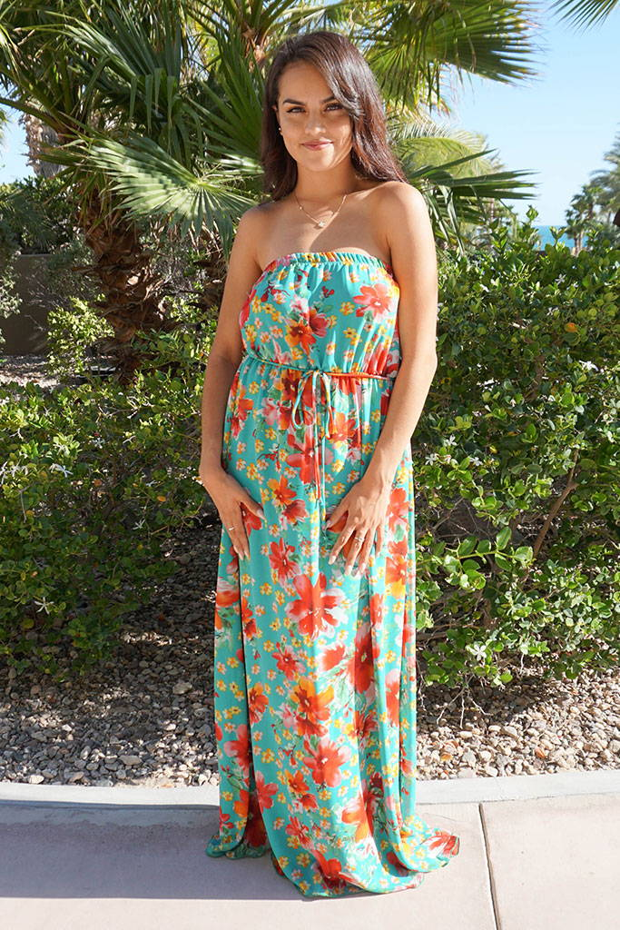 Floral Green Strapless Maxi Dress