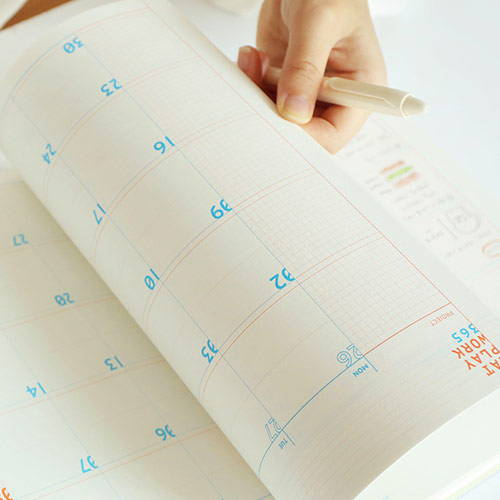 100gsm paper - Romane 2020 Workaholic 365 dated weekly diary planner