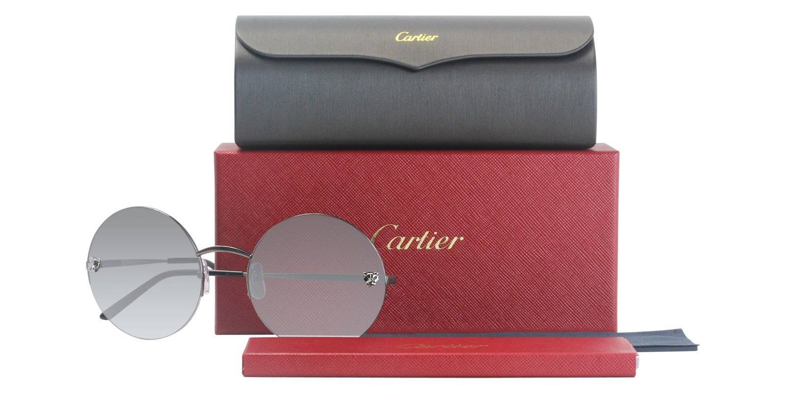 3f6f76a4a4c These round Panthère de Cartier sunglasses are avialable in three  distintive colors. The most popular being a smooth champagne golden-finish  metal