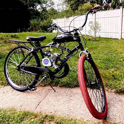 This upgraded 2-stroke motorized bicycle is upgraded for performance and longevity.
