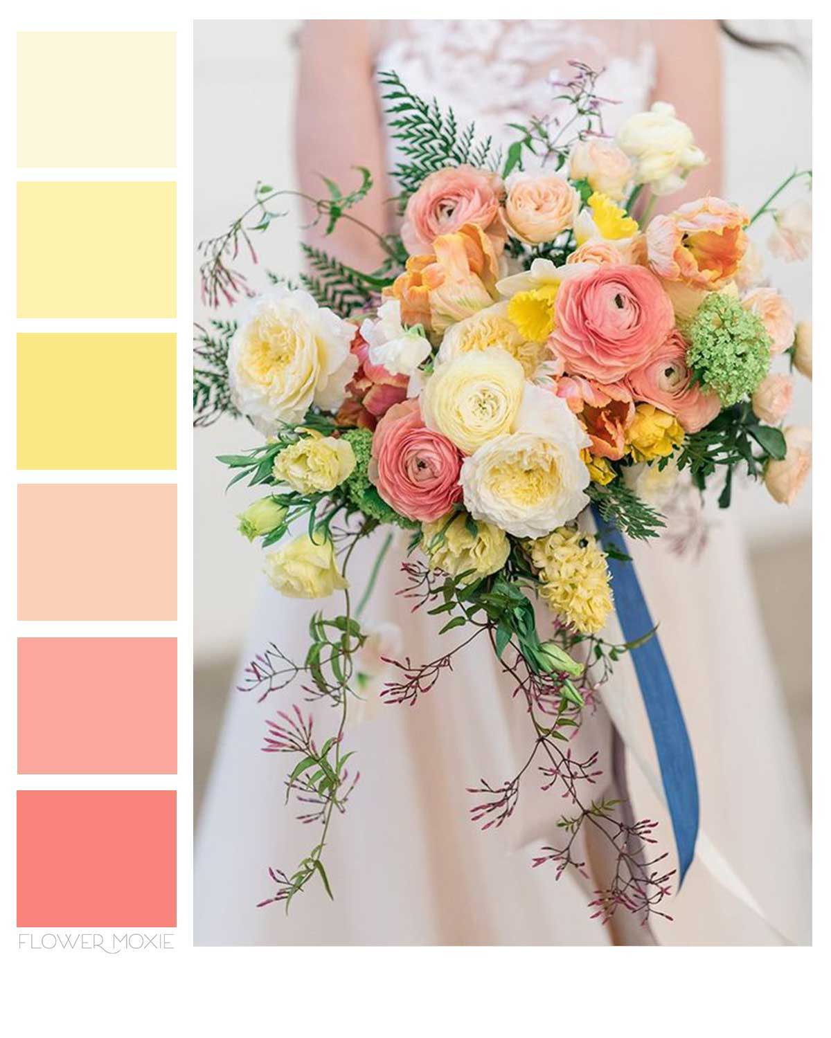 yelow peach and blush pink wedding flower packages