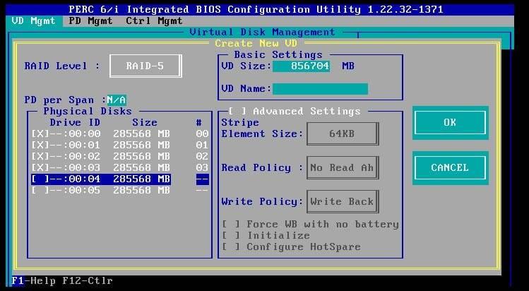 choosing a raid level for the perc 6i raid controller