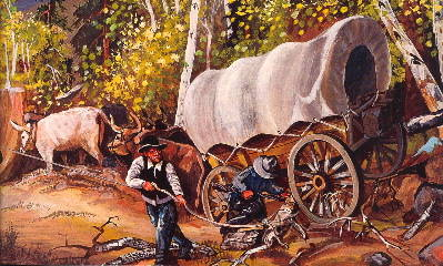 Gary Stone painting of the Oregon Trail