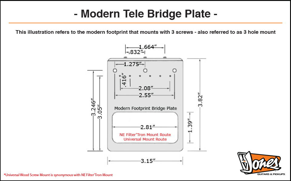 TV Jones Modern Tele Plate Dimensions