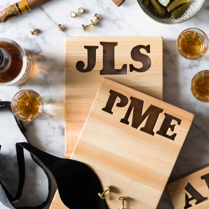 Personalized cutting boards with 3 letters