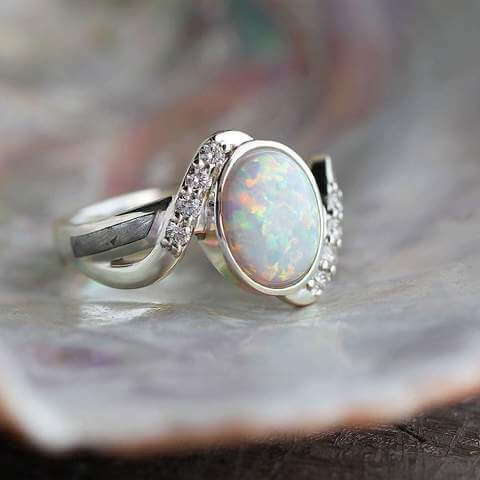 Opal Cabochon Engagement Ring
