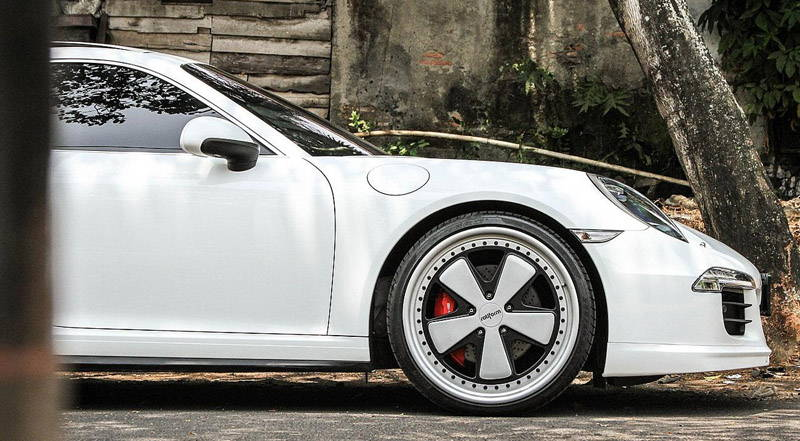 Wheel on White Porsche
