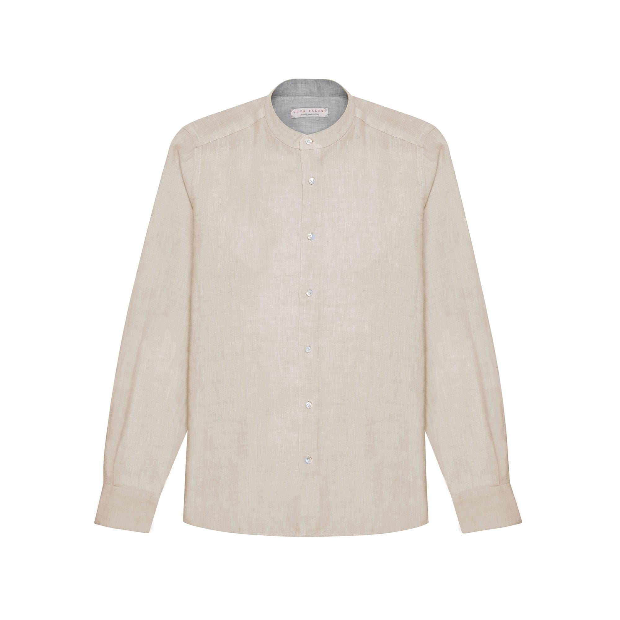 Luca Faloni Sand Beige Band Collar Linen Shirt Made in Italy