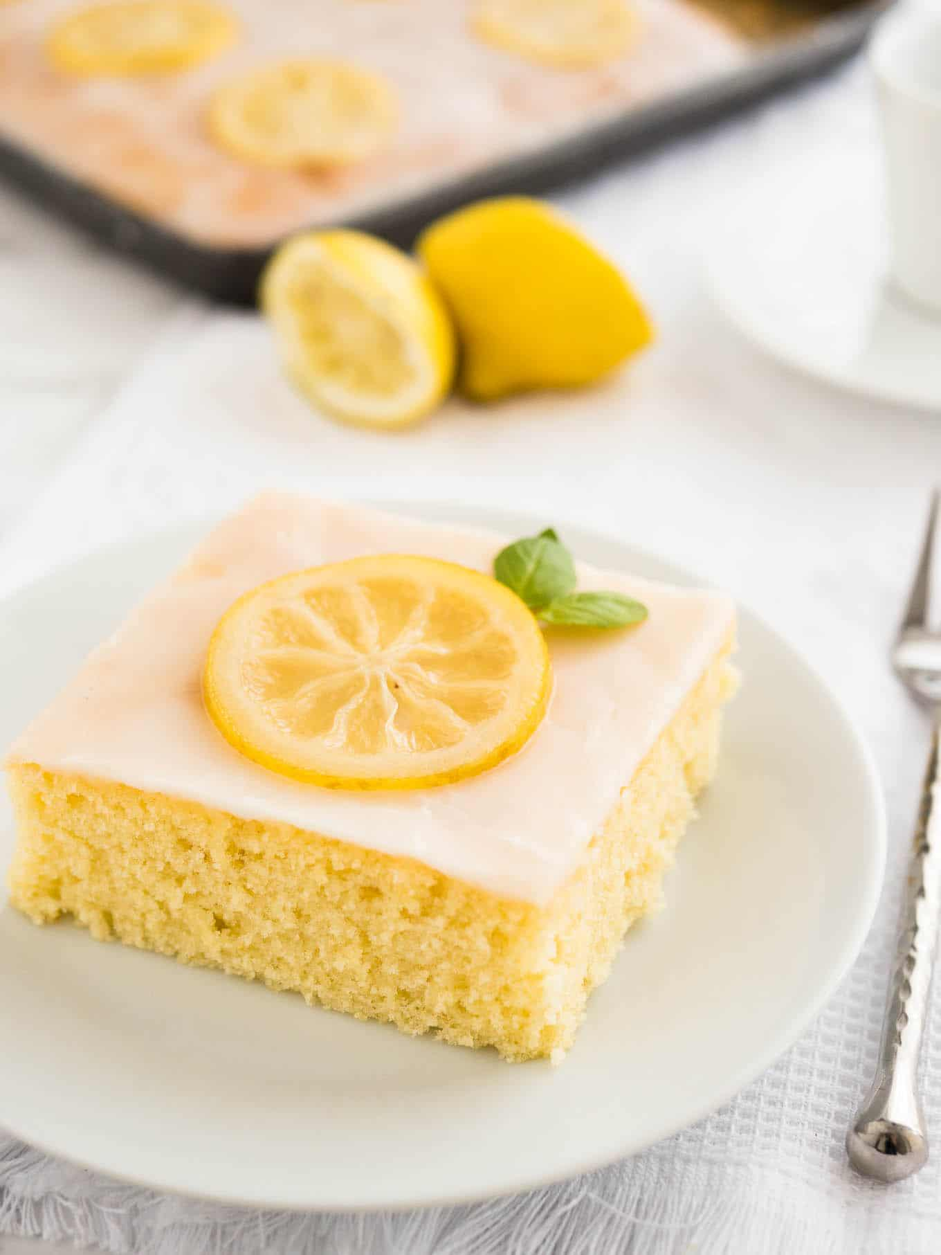 Moist Lemon Cake Plated