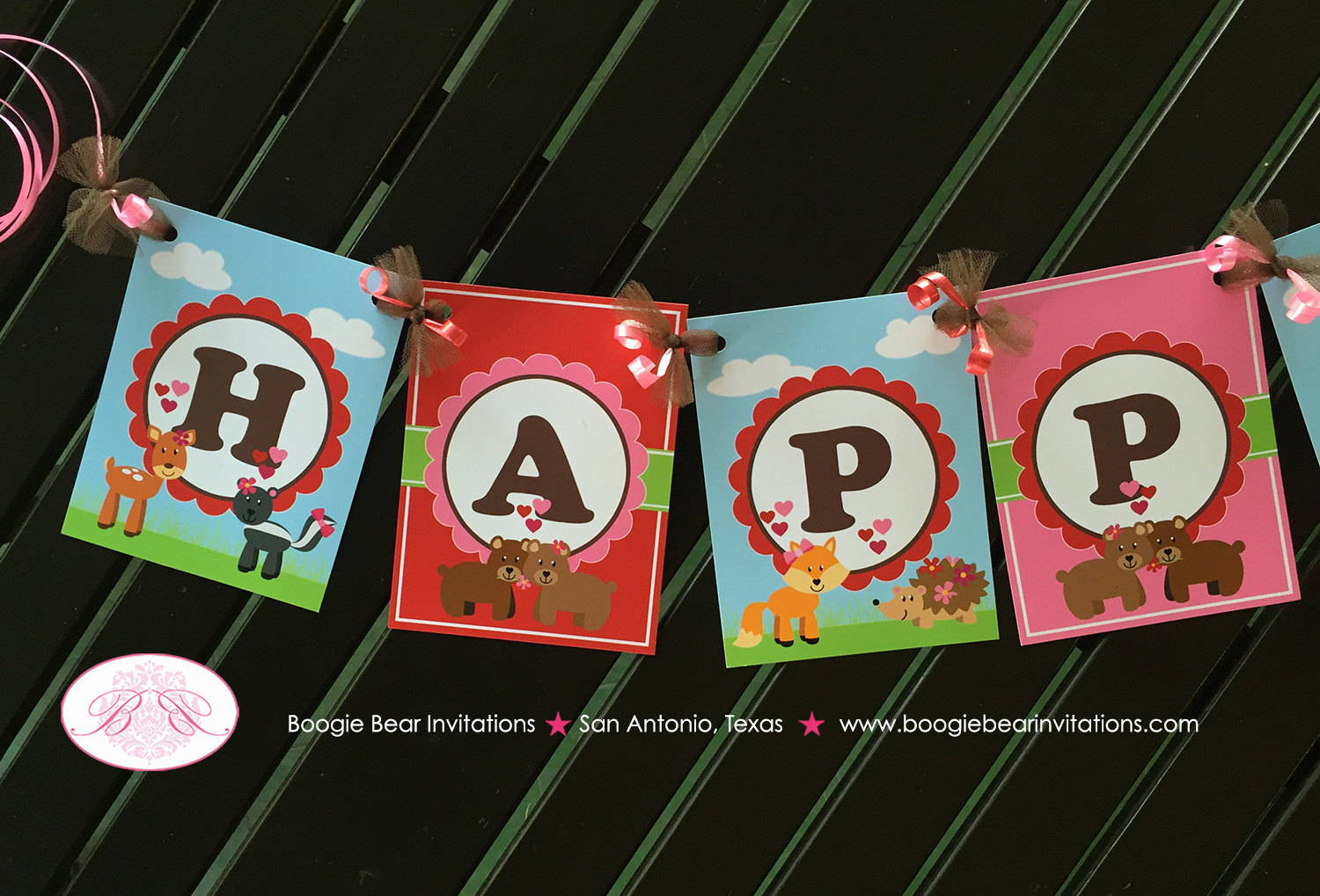 Amelie Happy Birthday Banner - Valentine Woodland Animal Theme For Birthdays Around Valentine's Day