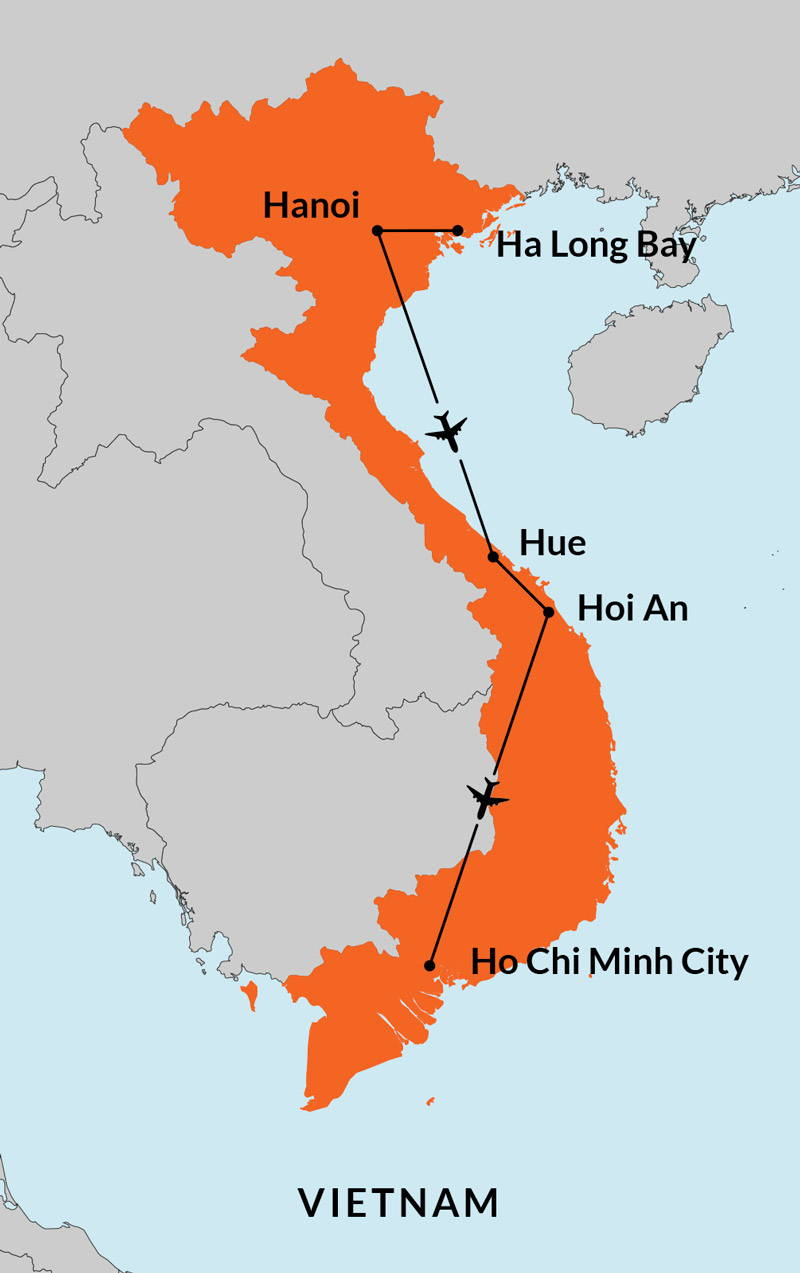 Travelbay Vietnam Tours - 11 Day Best of Vietnam Tour Map