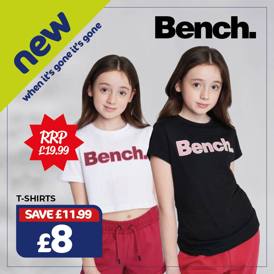 New Bench Kids T-Shirts - Only £8, RRP £19.99 , Save £11.99. When It's Gone It's Gone.