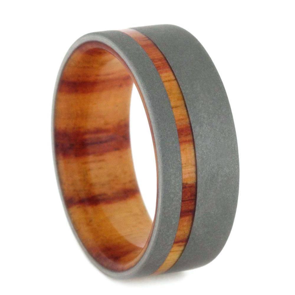 Sandblasted Titanium Ring with Tulipwood Sleeve and Pinstripe