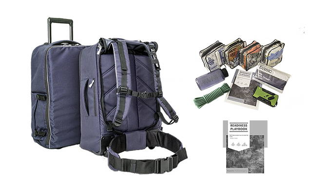 A go bag that can be worn as a backpack or wheeled, and organizational modules with supplies