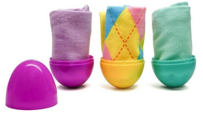 Pastel dress socks in plastic Easter eggs