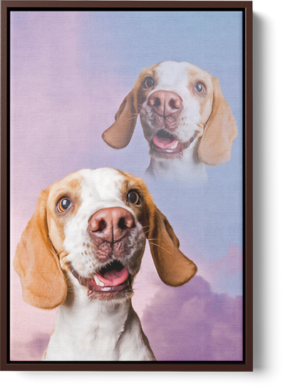 Retro style dog art on framed canvas