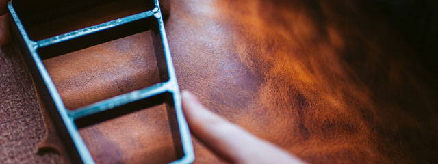English Tan Leather being cut