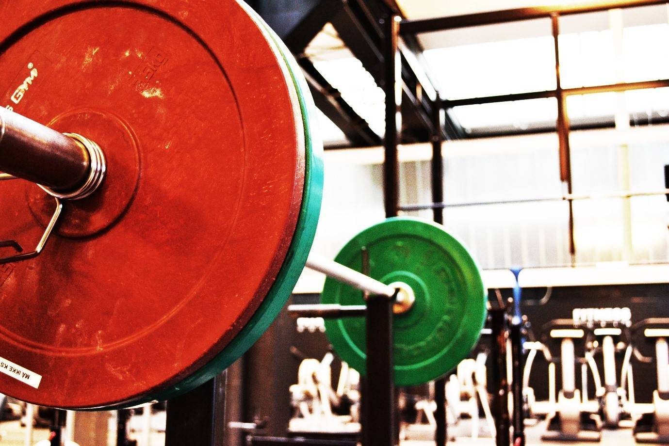 A barbell racked with weights in the gym.