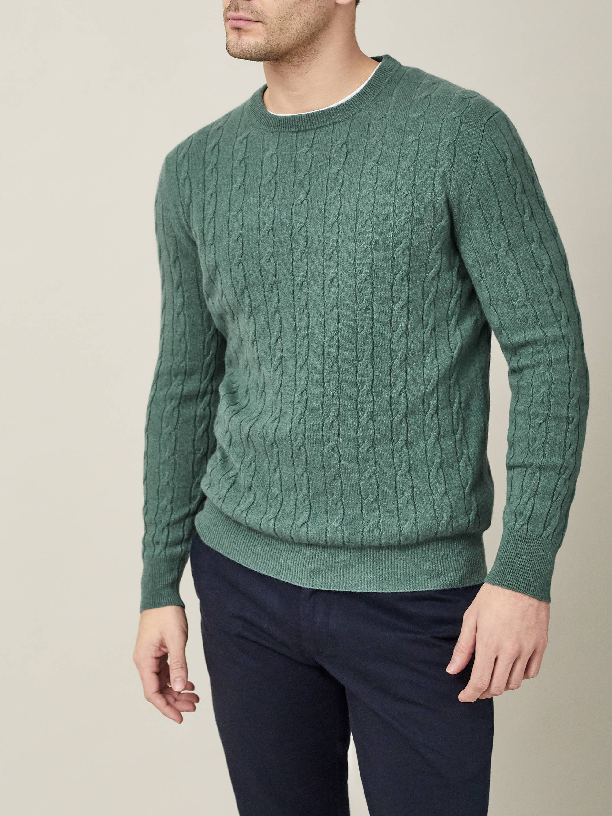 Green Cashmere Cable Knit