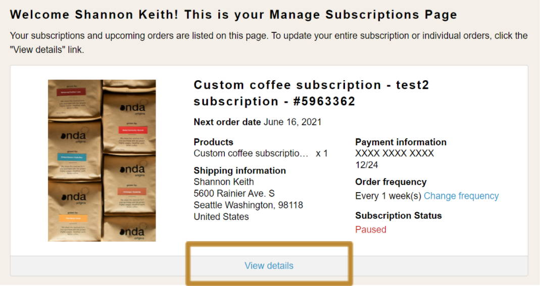 Subscription Management Page