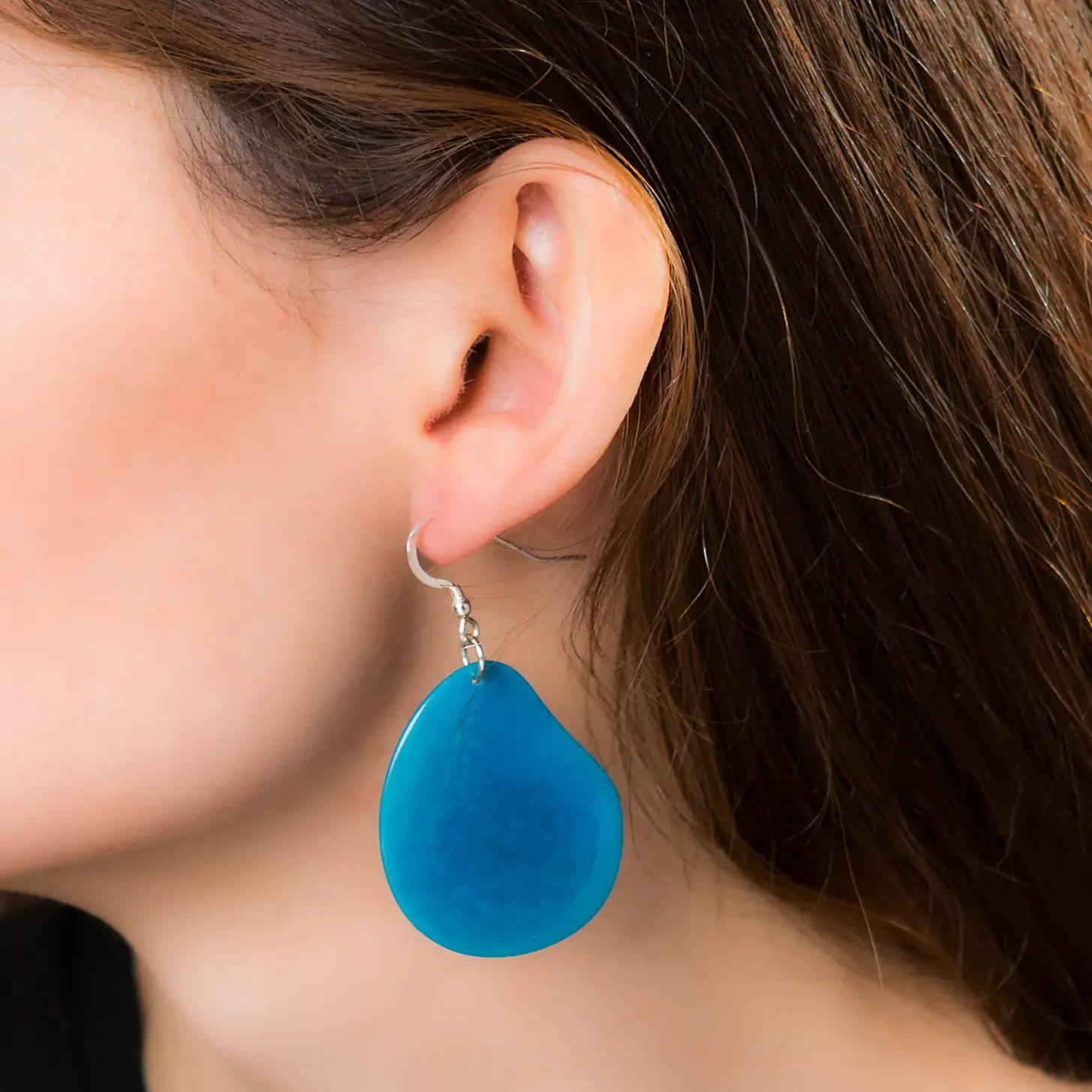Blue tagua nut sliced earring