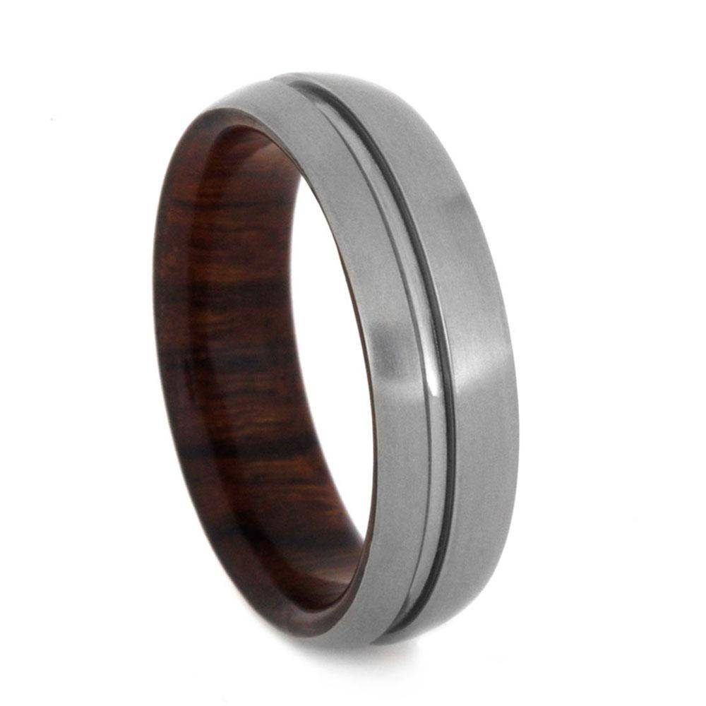 Titanium Ring with Groove and Ironwood Sleeve