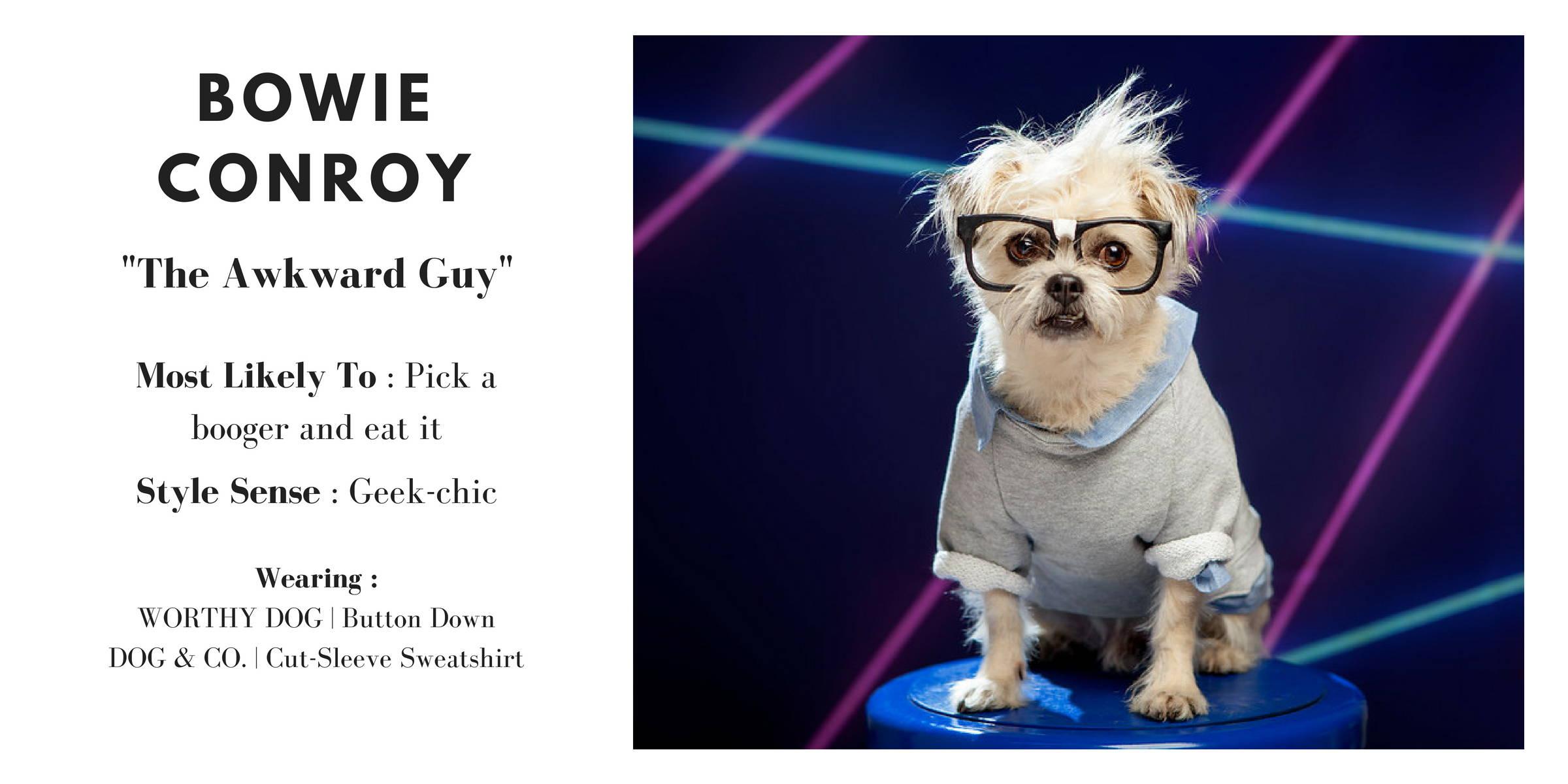 BOWIE CONROY wearing the WORTHY DOG | Button Down & DOG & CO. | Cut-Sleeve Sweatshirt
