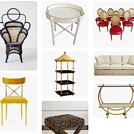 A grid of colorful furniture with caning, a yellow velvet side chair, a pagoda shaped shelf and a sofa with fringe around the bottom edge.