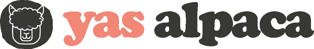 Yas Alpaca logo black and orange text with alpaca head illustration