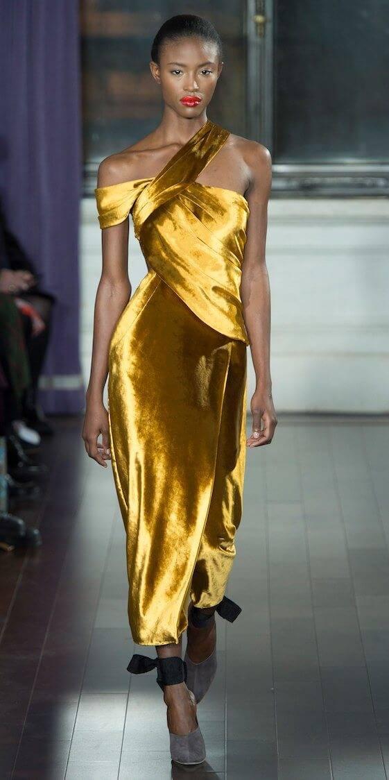 Jason Wu gold velvet dress
