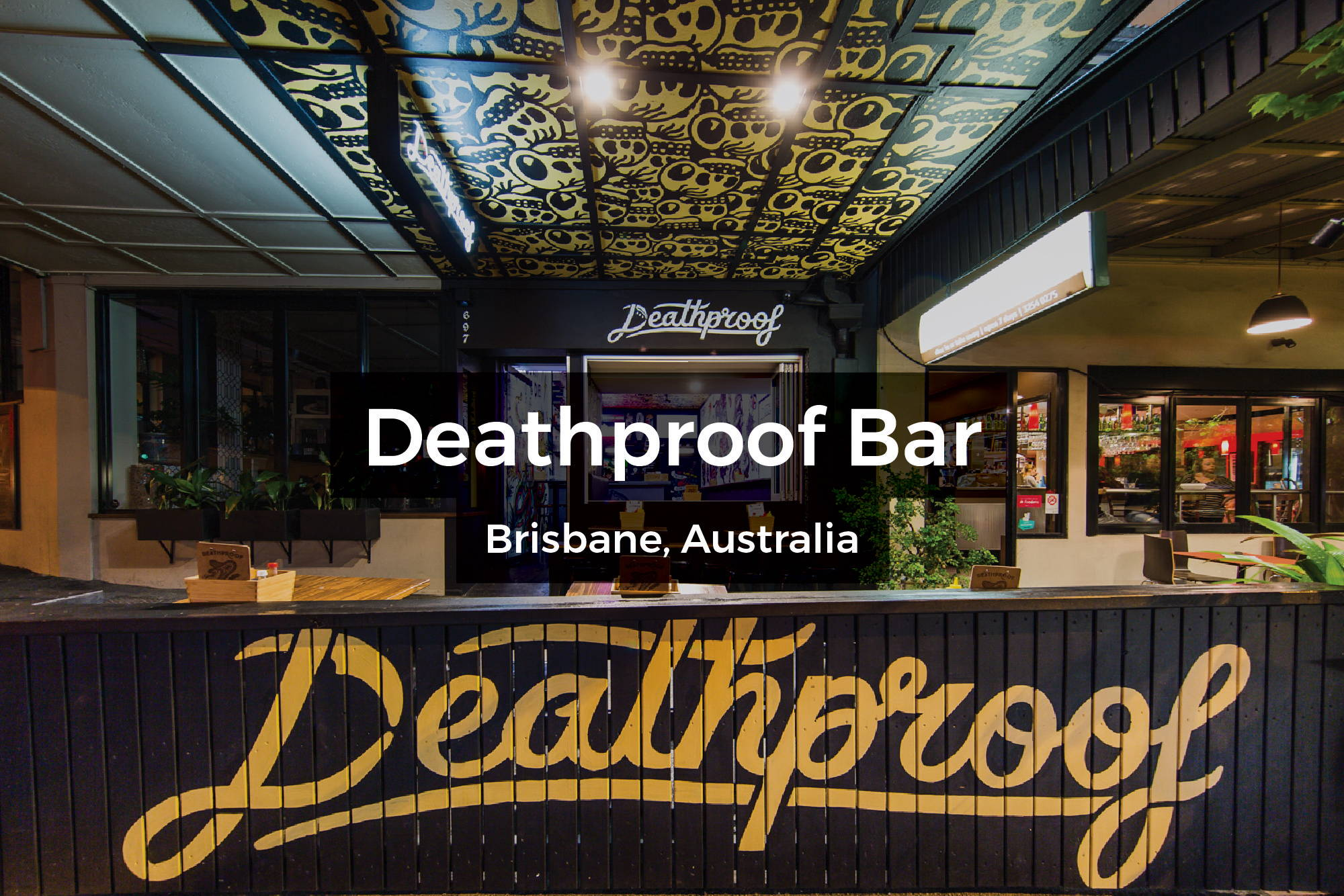 Deathproof Bar murals in Brisbane, Australia by Steen Jones