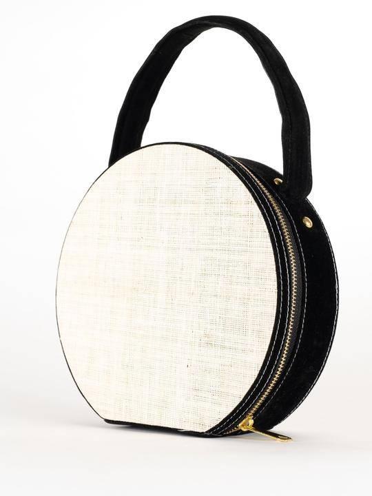 La Filippine Maddy Black & White Raffia Bag