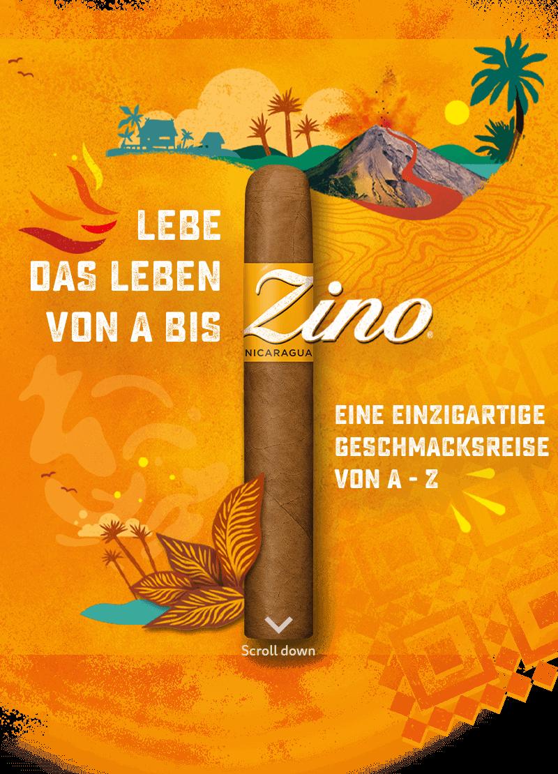 Lebendige Illustration mit einer Zino Nicaragua Zigarre - Lebe das Leben von A bis Z