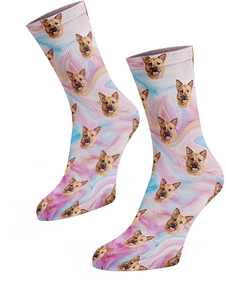 Custom pup socks with marble background