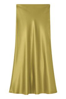 Galvan London Satin Midi Khaki Green Skirt