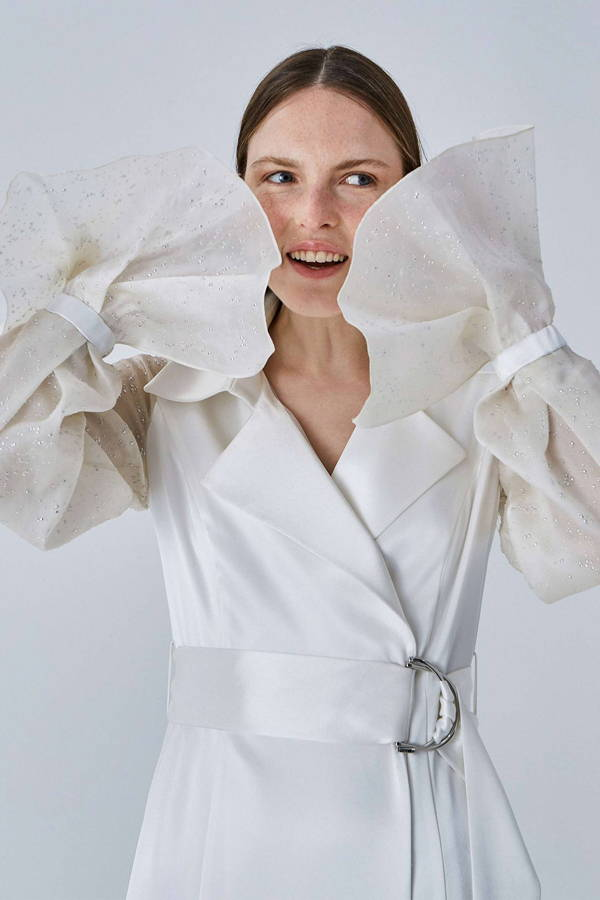 Galvan London Chic Organza Bridal White Trench Coat
