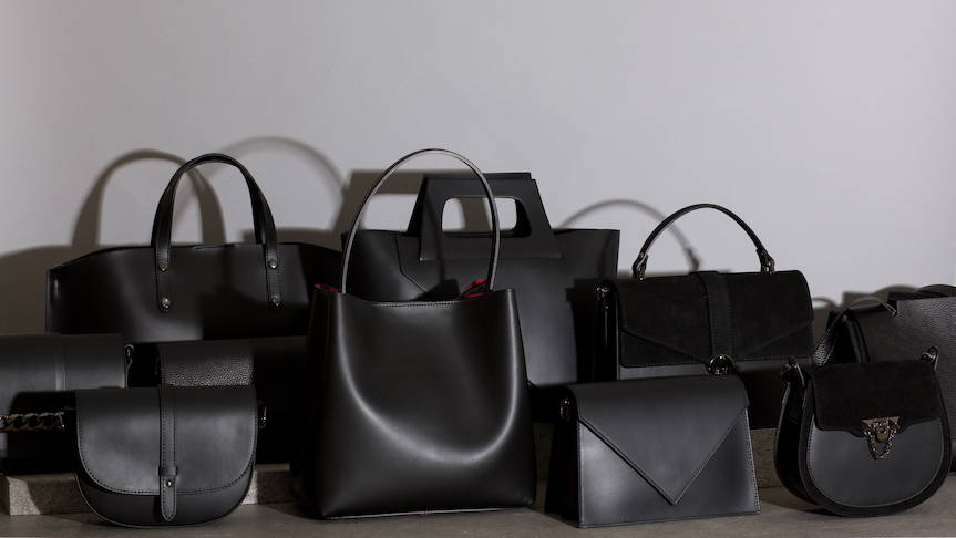 VESTIRSI leather handbag collection handmade in Italy for smart, modern women, range image of all handbags, tote bags, crossbody bags and purses in black Italian suede and leather.