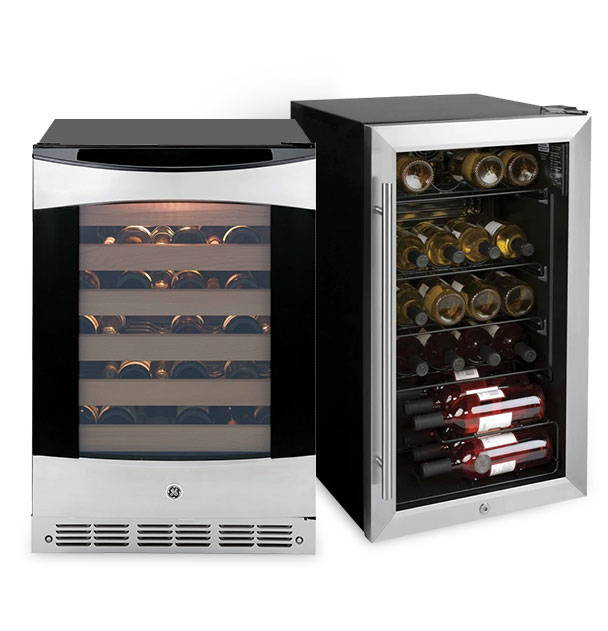 GE Appliances undercounter wine refrigerators and beverage centers.