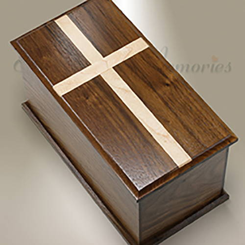 Extra Large Walnut Cremation Urn With Maple Cross